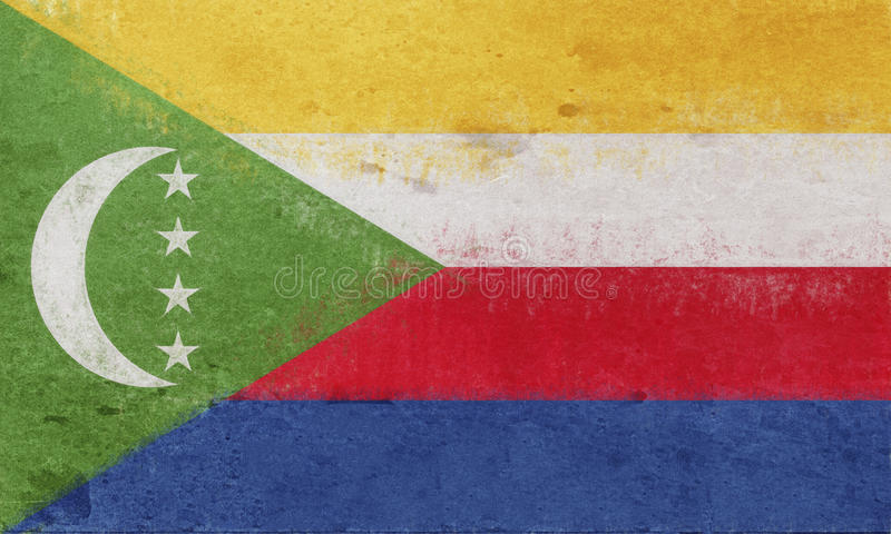 Flagga av Comoros Grunge vektor illustrationer