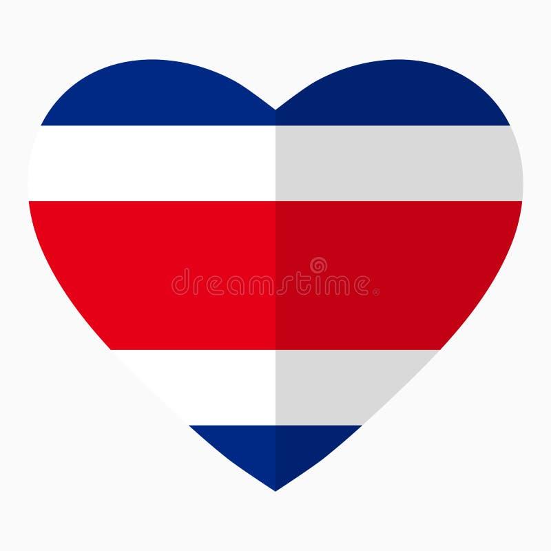 Flagga av Costa Rica i formen av hjärta, lägenhetstil, symbol stock illustrationer