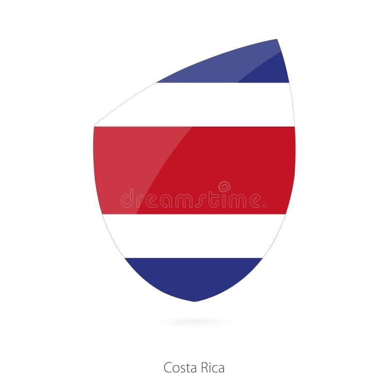 Flagga av Costa Rica i stilen av rugbysymbolen royaltyfri illustrationer