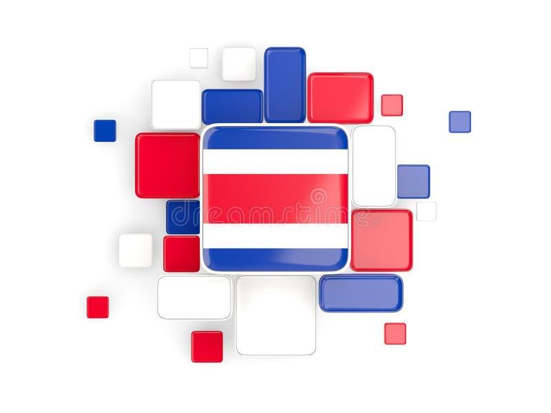 Flagga av Costa Rica, mosaikbakgrund stock illustrationer