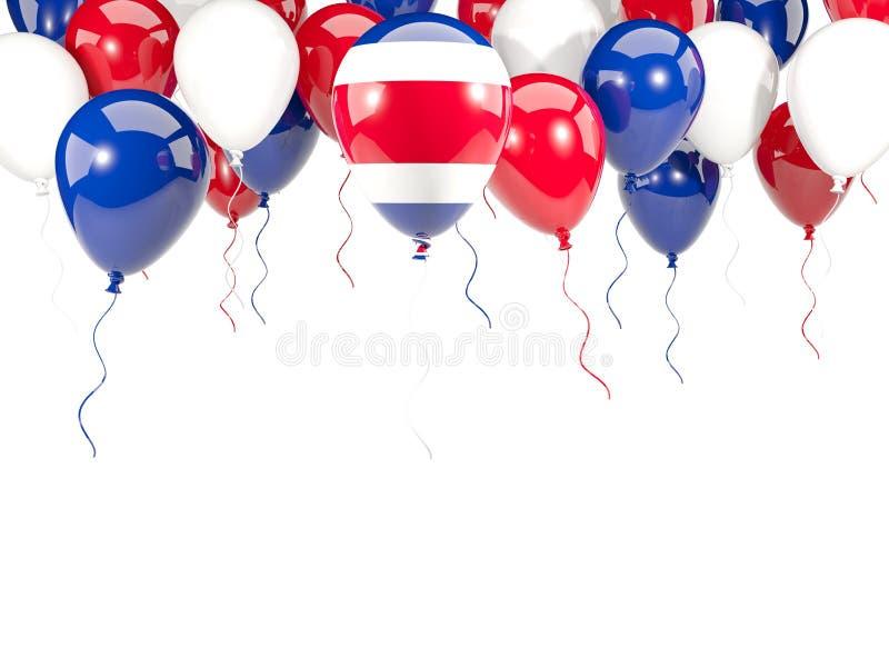 Flagga av Costa Rica på ballonger royaltyfri illustrationer