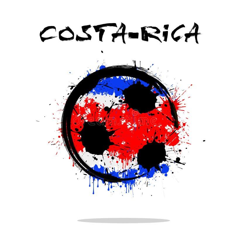 Flagga av Costa Rica som en abstrakt fotbollboll royaltyfri illustrationer