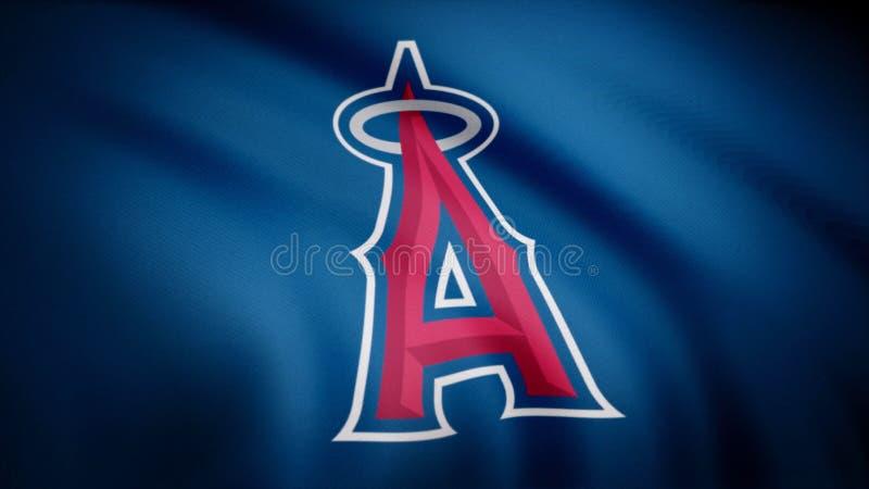 Flagga av de baseballLos Angeles änglarna av Anaheim, amerikansk yrkesmässig basketlaglogo, sömlös ögla ledare stock illustrationer