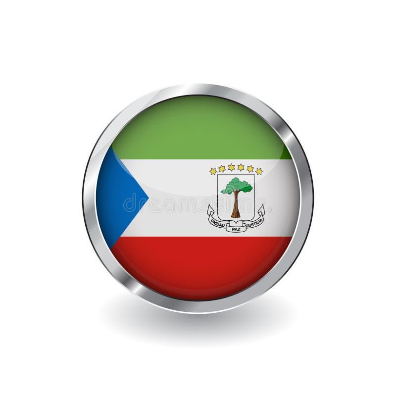 Flagga av den ekvators- guineaen, knapp med metallramen och skugga för flaggavektor för ekvators- guinea symbol, emblem med glans vektor illustrationer