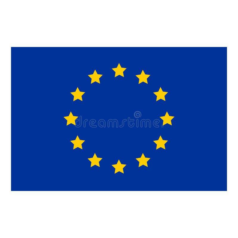 Flagga av den Europa flaggan av europeisk union Borste målad flagga av illustrationen för stil för Europa hand den utdragna med e stock illustrationer