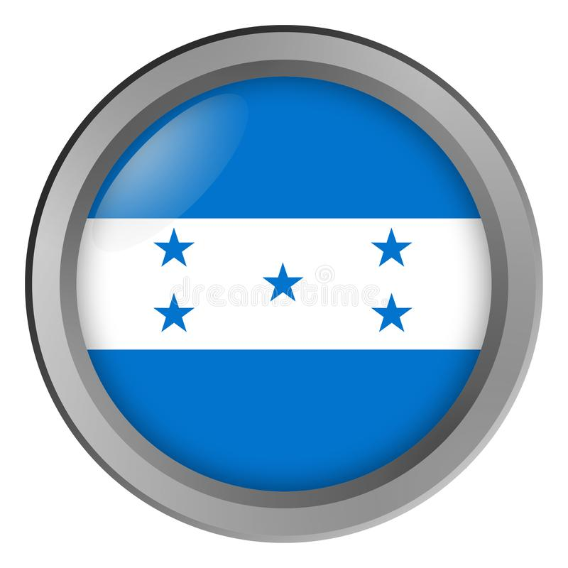 Flagga av den Honduras rundan som en knapp royaltyfri illustrationer