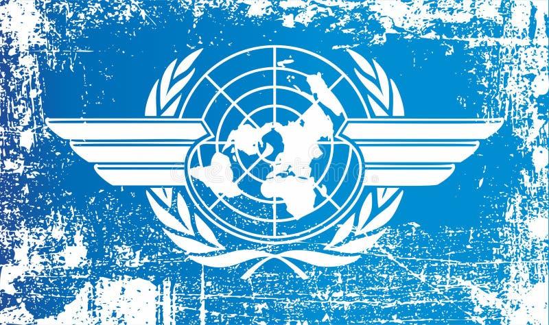 Flagga av den internationella civilflygorganisationen Rynkiga smutsiga fläckar stock illustrationer