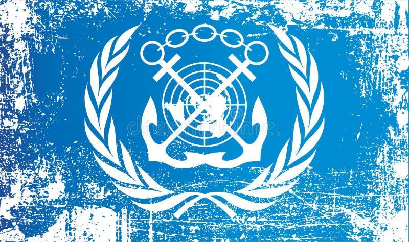 Flagga av den internationella maritima organisationen Rynkiga smutsiga fläckar royaltyfri illustrationer