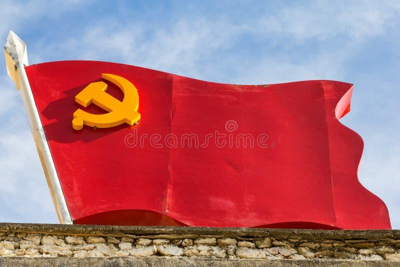 Flagga av den kinesiska kommunistpartiet royaltyfri foto