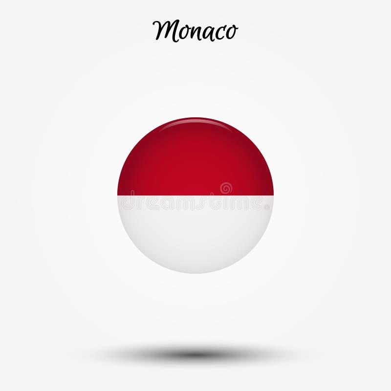 Flagga av den Monaco symbolen stock illustrationer