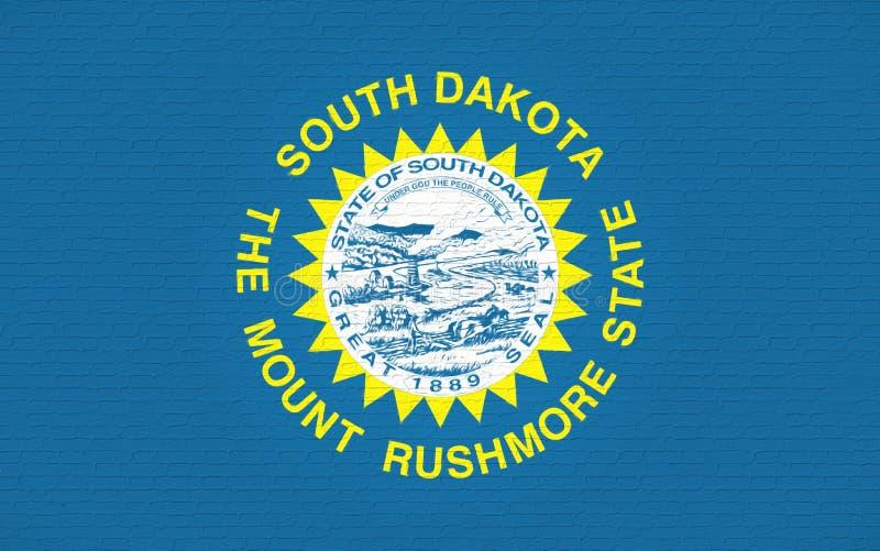 Flagga av den South Dakota väggen vektor illustrationer