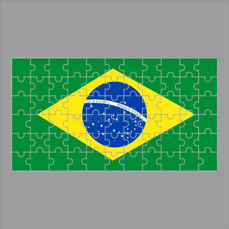 Flagga av det Brasilien pusslet på grå bakgrund vektor illustrationer
