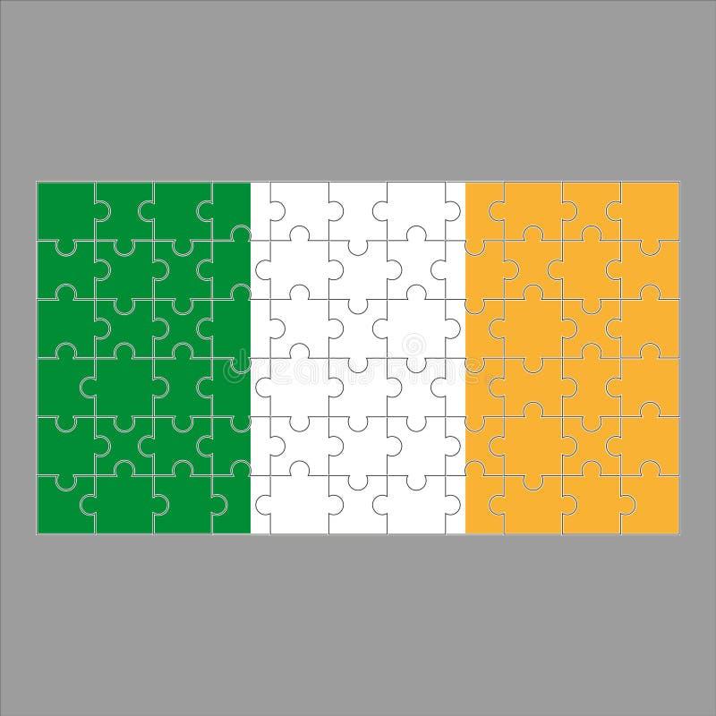 Flagga av det Irland pusslet på grå bakgrund stock illustrationer
