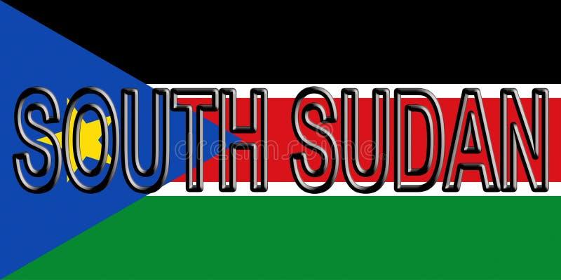 Flagga av det södra Sudan ordet royaltyfri illustrationer