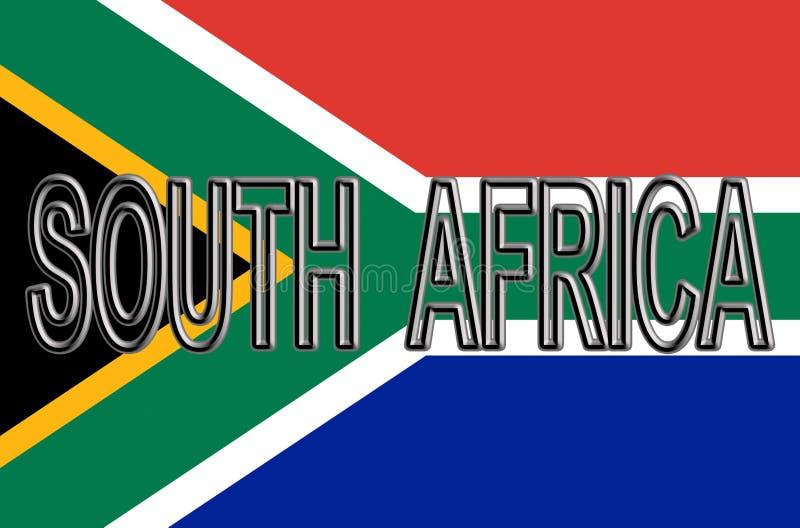 Flagga av det Sydafrika ordet stock illustrationer