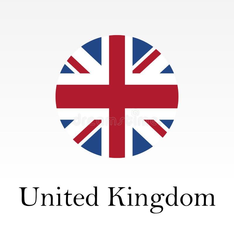 Flagga av det UK-rundasymbolen eller emblemet Förenade kungariket och Storbritannien cirkelknapp vektor illustrationer