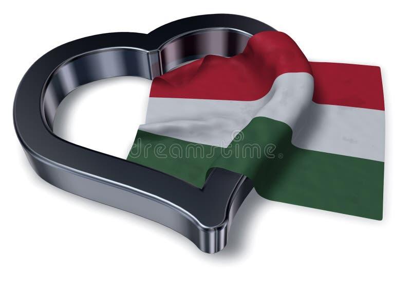 Flagga av det Ungern och hjärtasymbolet stock illustrationer