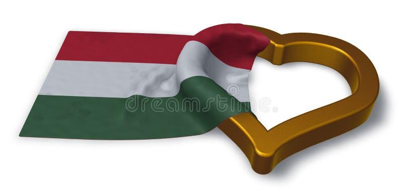 Flagga av det Ungern och hjärtasymbolet royaltyfri illustrationer