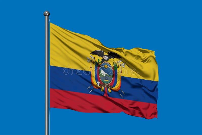 Flagga av Ecuador som vinkar i vinden mot djupblå himmel Ecuadoriansk flagga stock illustrationer