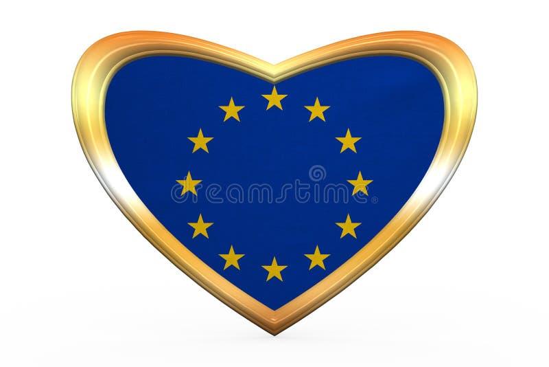 Flagga av Europa i hjärtaform, guld- ram stock illustrationer