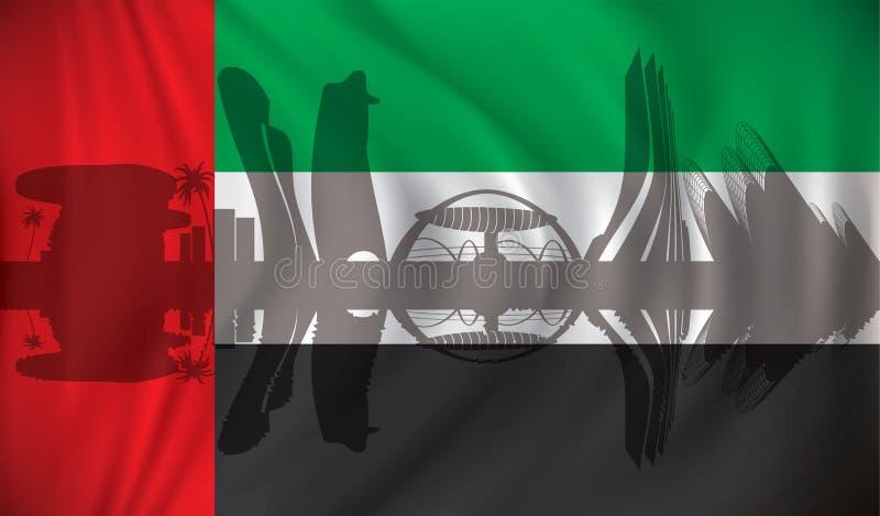 Flagga av Förenade Arabemiraten med Abu Dhabi horisont royaltyfri illustrationer