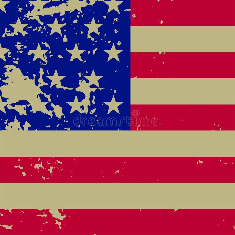 Flagga av Förenta staterna, fyrkantig illustration i retro stil Bekymrad tappningamerikanska flaggan stock illustrationer