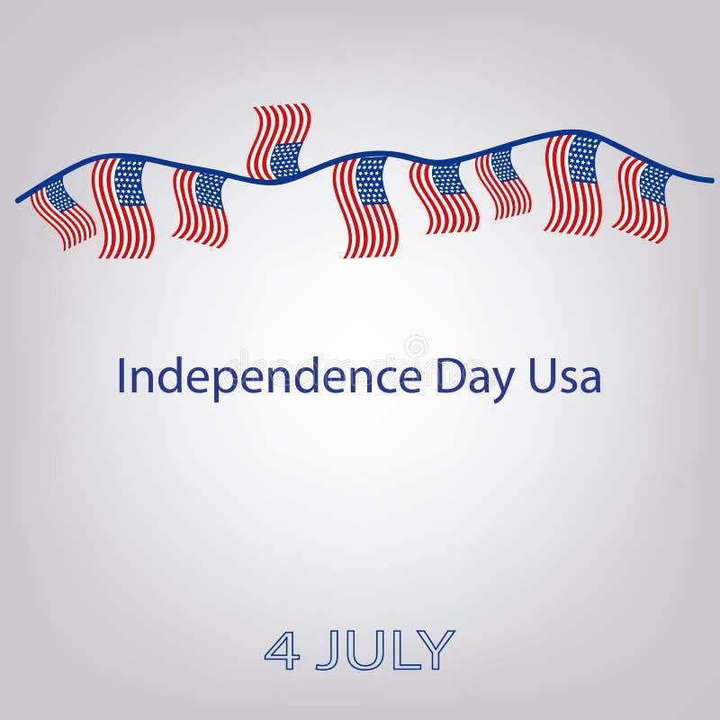 Flagga av Förenta staterna med inskriften Girland av flaggor Självständighetsdagen USA 4th juli också vektor för coreldrawillustr vektor illustrationer