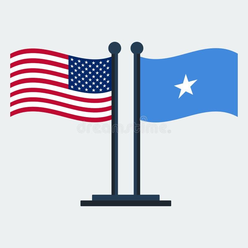 Flagga av Förenta staterna och Somalia Flaggaställning också vektor för coreldrawillustration vektor illustrationer