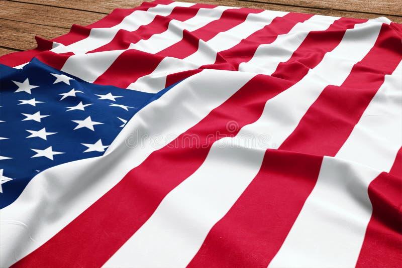 Flagga av F?renta staterna p? en tr?skrivbordbakgrund B?sta sikt f?r siden- amerikanska flaggan fotografering för bildbyråer