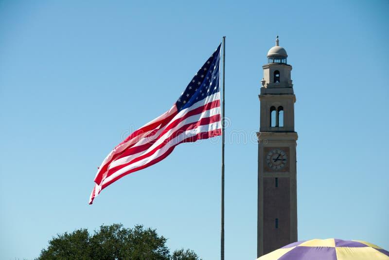 Flagga av Förenta staterna på LSU royaltyfri bild