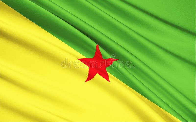 Flagga av Franska Guyana, Cayenne royaltyfri illustrationer