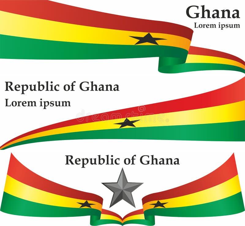 Flagga av Ghana, Republiken Ghana Mall för utmärkelsedesign, ett officiellt dokument med flaggan av Ghana stock illustrationer