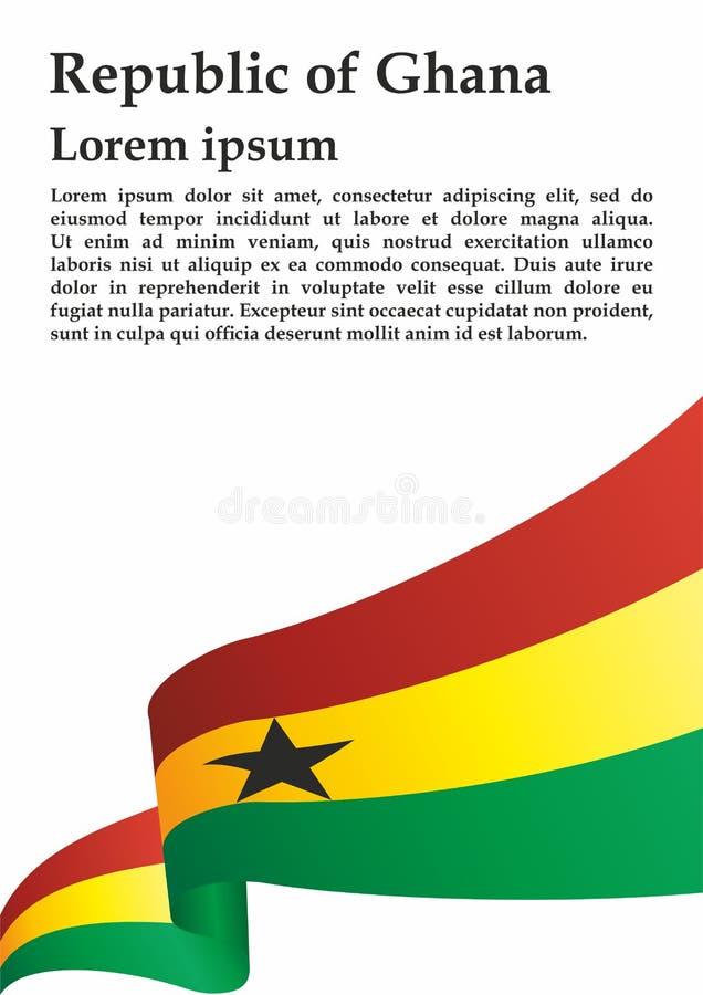 Flagga av Ghana, Republiken Ghana Mall för utmärkelsedesign, ett officiellt dokument med flaggan av Ghana royaltyfri illustrationer