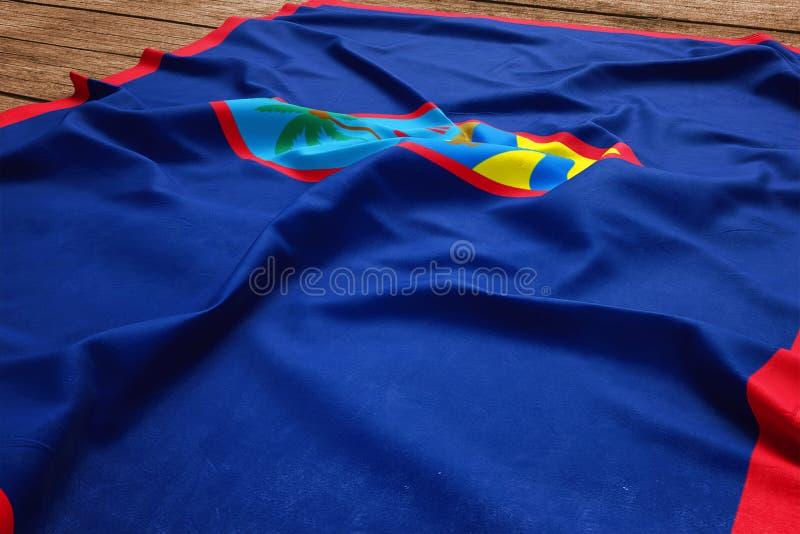 Flagga av Guam p? en tr?skrivbordbakgrund B?sta sikt f?r siden- flagga fotografering för bildbyråer