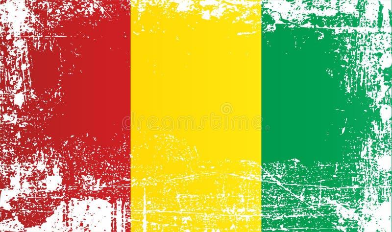 Flagga av Guinea, Afrika Rynkiga smutsiga fläckar royaltyfri illustrationer