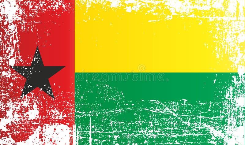 Flagga av Guinea-Bissau, Afrika Rynkiga smutsiga fläckar royaltyfri illustrationer