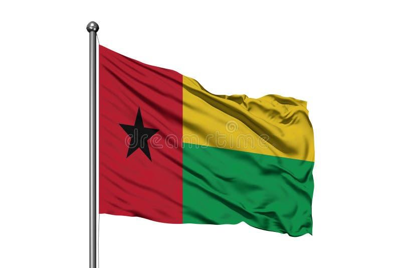 Flagga av Guinea Bissau som vinkar i vinden, isolerad vit bakgrund Guineansk flagga stock illustrationer