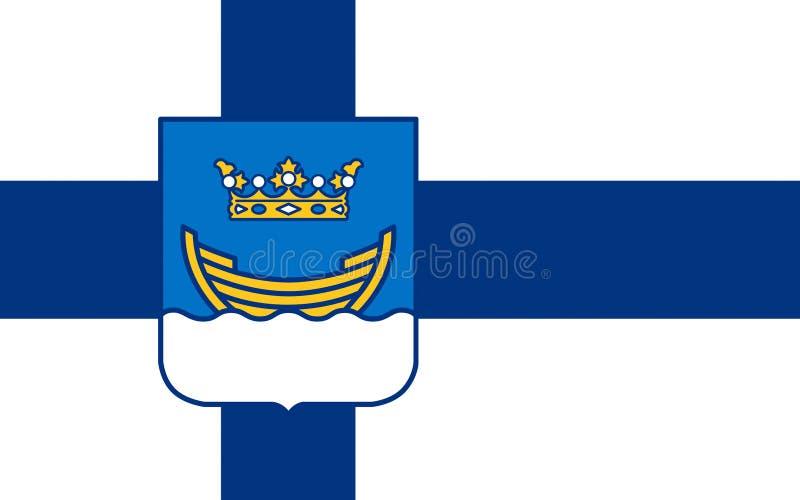 Flagga av Helsingfors, Finland royaltyfri illustrationer