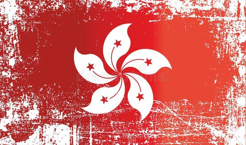 Flagga av Hong Kong, special administrativ region av Folkrepublikenet Kina Rynkiga smutsiga fläckar royaltyfri illustrationer