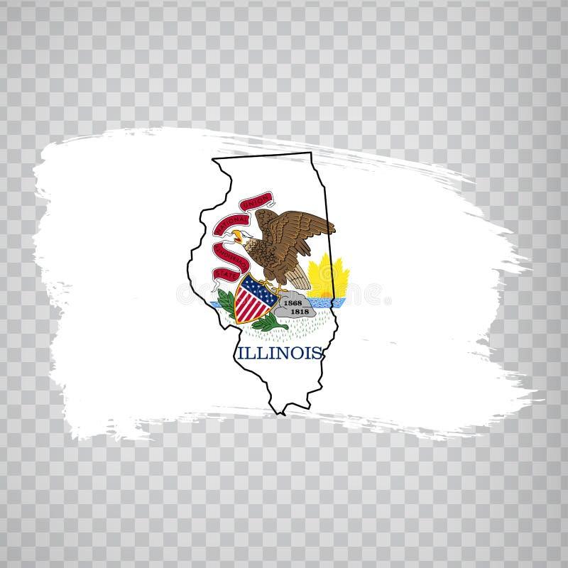 Flagga av Illinois från borsteslaglängder och tom översikt av Illinois Amerika tillst?nd f?renade Högkvalitativ översikt Illinois royaltyfri illustrationer