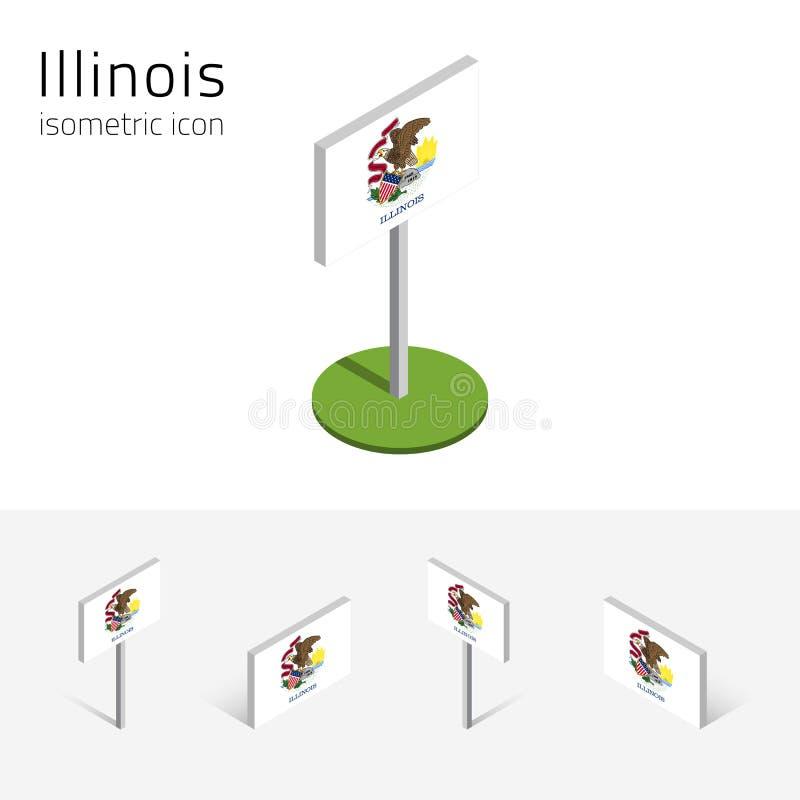 Flagga av Illinois USA, isometriska plana symboler för vektor 3D vektor illustrationer