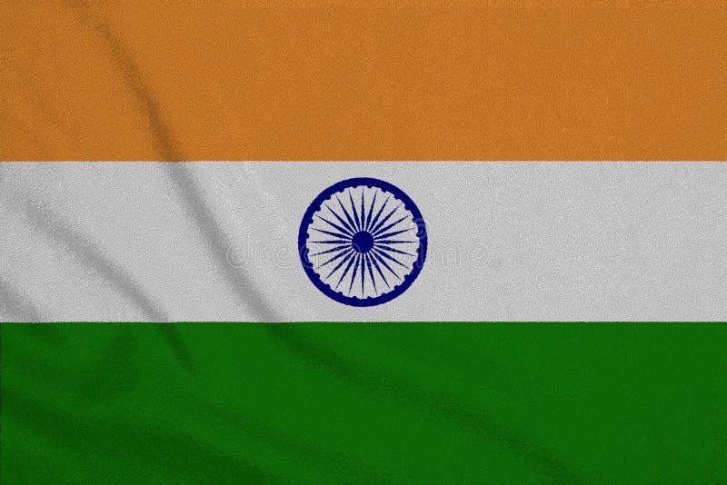Flagga av Indien från det fabrik stack tyget Bakgrunder och texturer arkivbilder
