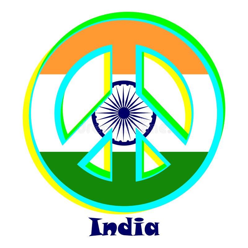 Flagga av Indien som ett tecken av pacifism stock illustrationer