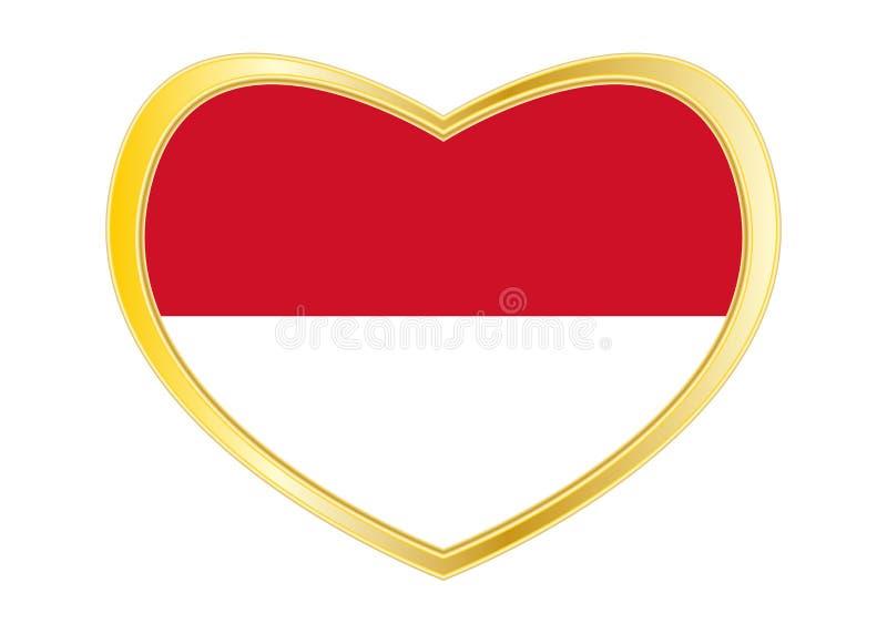 Flagga av Indonesien, Monaco, Hessen i hjärtaform royaltyfri illustrationer