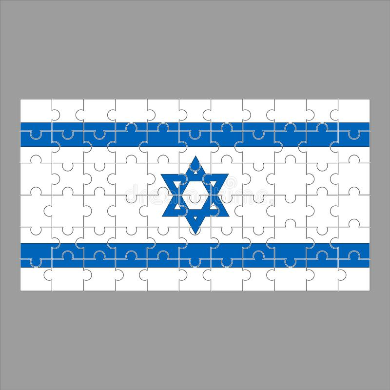 Flagga av Israel från pussel på en grå bakgrund vektor illustrationer