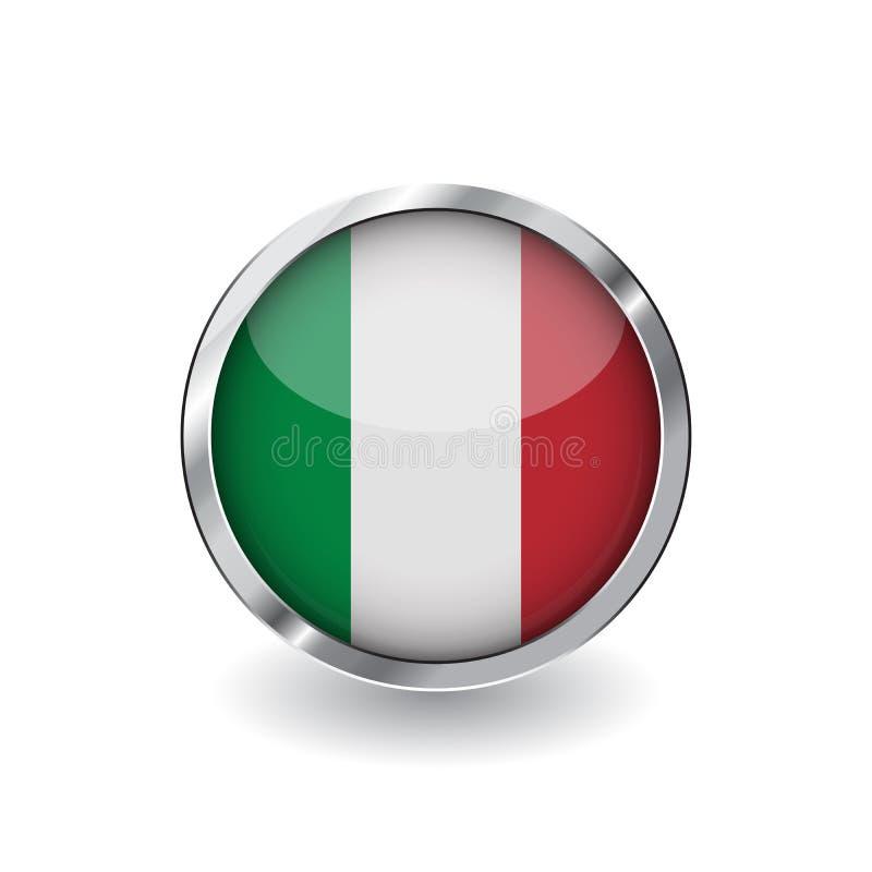 Flagga av Italien, knapp med metallramen och skugga symbol för Italien flaggavektor, emblem med glansig effekt och metallisk grän royaltyfri illustrationer