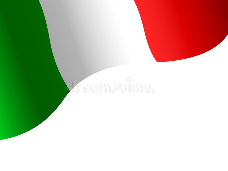 Flagga av Italien p? en vit bakgrund stock illustrationer
