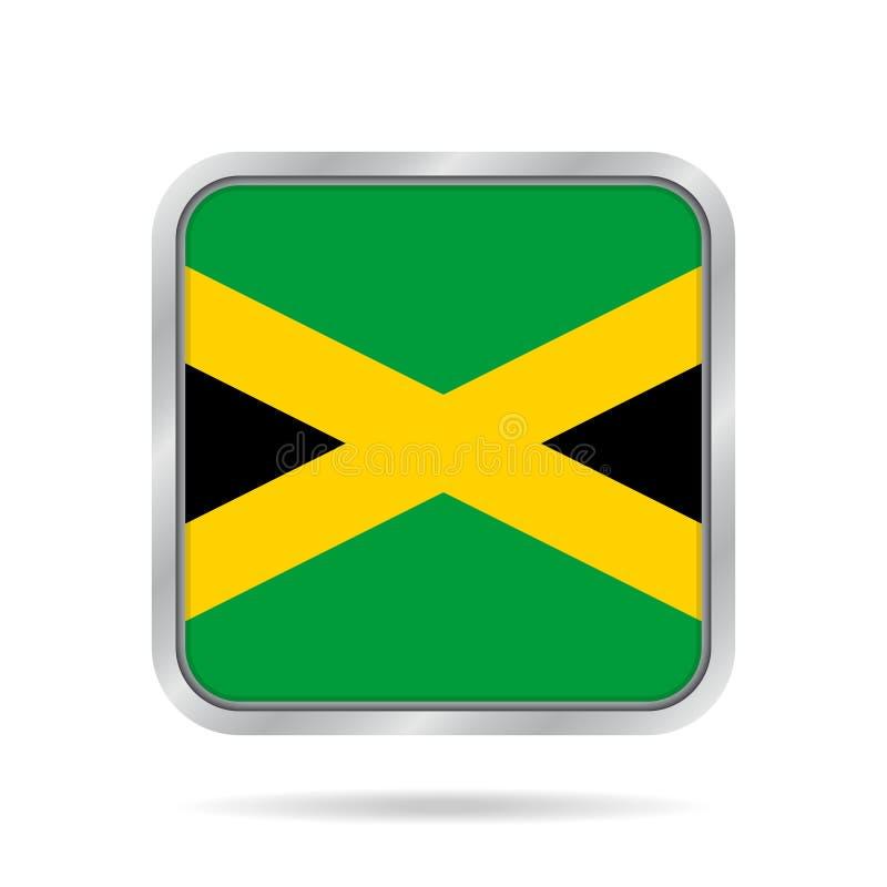 Flagga av Jamaica, skinande metallisk grå färgfyrkantknapp vektor illustrationer