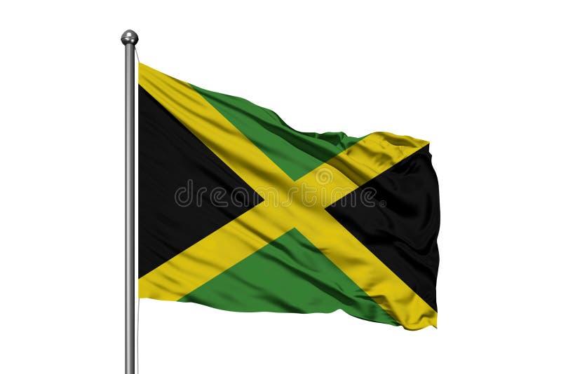 Flagga av Jamaica som vinkar i vinden, isolerad vit bakgrund flag jamaican royaltyfria bilder