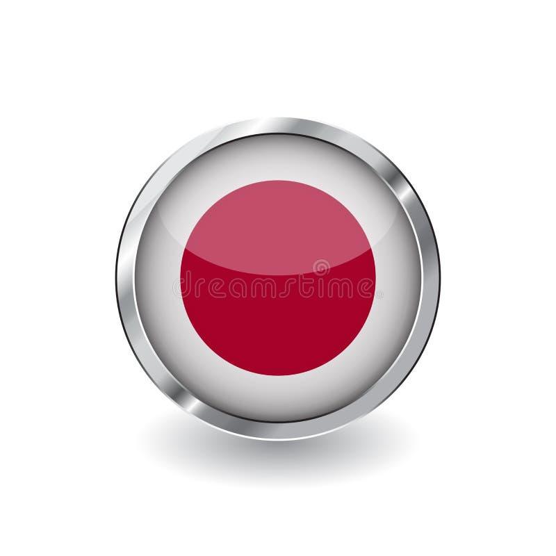 Flagga av Japan, knapp med metallramen och skugga symbol för Japan flaggavektor, emblem med glansig effekt och metallisk gräns re vektor illustrationer